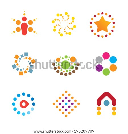 Great mind bending colorful creativity decoration interaction icon set logo - stock vector
