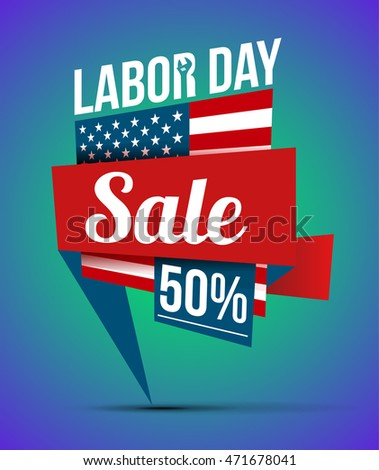 great offer in sale -50%  in celebration of Labour Day. vector banner of geometric shapes. bright design