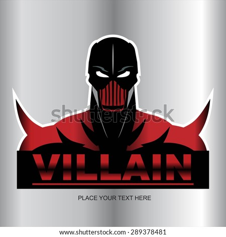Great Red Villain isolated on metallic background - stock vector