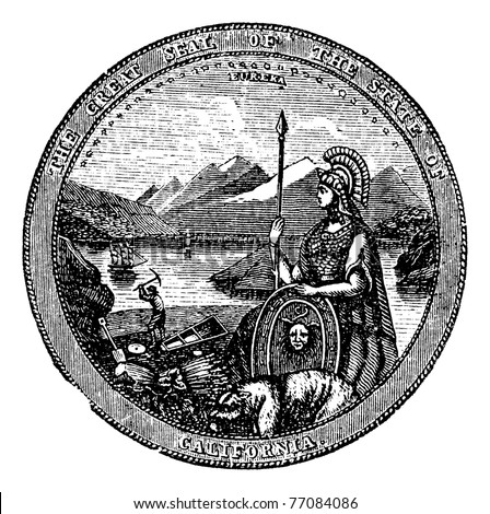 Great Seal  of the State of California vintage engraving. Vintage engraved illustration of the Seal of California , isolated against a white background.  United States. Trousset Encyclopedia. - stock vector