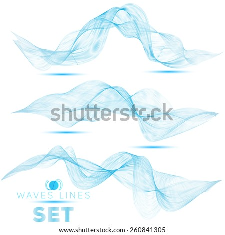 great set beautiful blend blue waves abstract background for design template.Separate isolated wave vector eps10 - stock vector