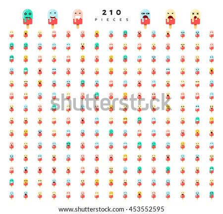 Great set of 210 emotions isolated on white background. Characters smile Emoji for Web. Anger and compassion. Laughter, tears. Smile sadness surprise. Happiness fear.
