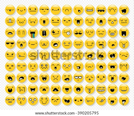Great set of 99 yellow emotions isolated with transparent shadow. Emoji icons for Web.  Anger and compassion. Laughter, tears. Smile sadness surprise. Happiness  fear.  - stock vector