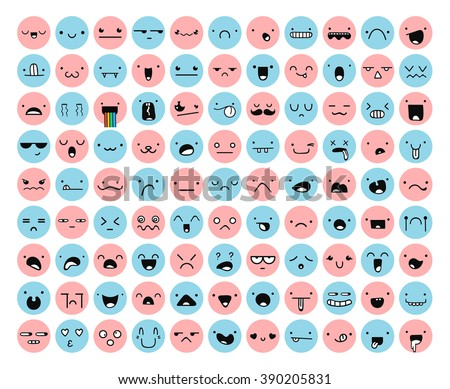 Great set 99 pink, blue emotion isolated on white. Emoji for Web. Anger and compassion. Laughter, tears. Smile sadness surprise. Happiness fear. - stock vector