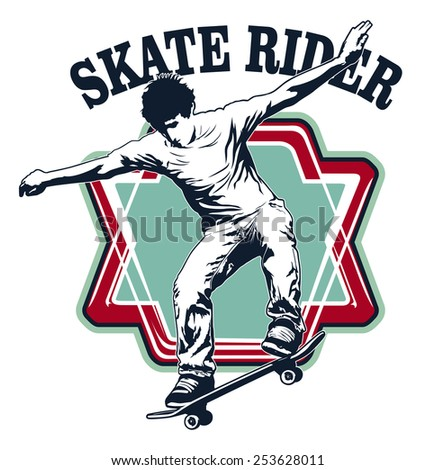 great skate shield with rider jumping - stock vector