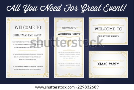 Great Style Invitation in Art Deco or Nouveau Epoch 1920's Gangster Empire or Boardwalk Era Vector Set for Main Event - stock vector