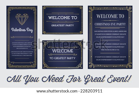 Great Style Invitation in Art Deco or Nouveau Epoch 1920's Gangster Era Boardwalk Empire Vector Set for Main Event Gatsby - stock vector