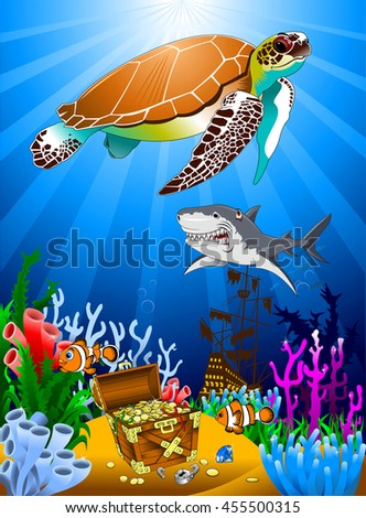 great Tortoise and pirate guarding a treasure, vector - stock vector