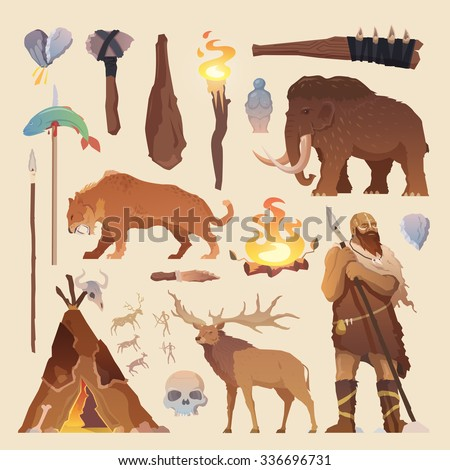 Great vector set of elements for your projects. Primitive man. Ice age. Cavemen. Stone age. Neanderthals. Homo sapiens. Extinct species. Evolution. Hunting. Flat design. - stock vector