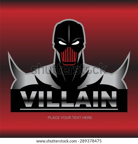 Great  Villain, in black and metallic costume, isolated on red metallic background.  - stock vector