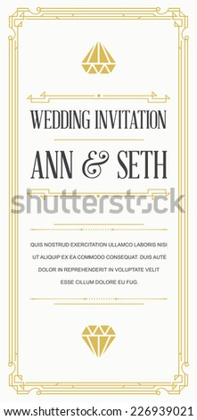 Great Vintage Invitation Sign in Art Deco or Nouveau Gatsby Epoch 1920's Gangster Era Vector to Wedding Party - stock vector