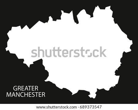greater manchester england uk map black inverted silhouette illustration