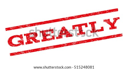 Greatly watermark stamp. Text tag between parallel lines with grunge design style. Rubber seal stamp with unclean texture. Vector red color ink imprint on a white background.