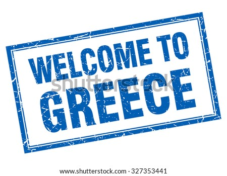 Greece blue square grunge welcome isolated stamp