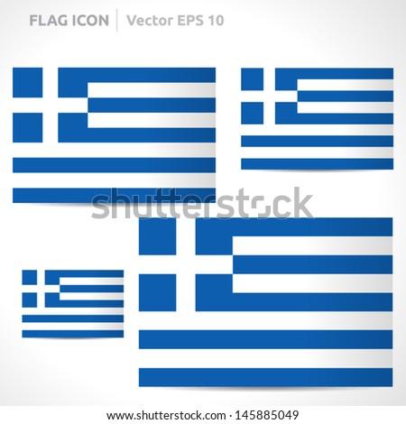 Greece flag template   vector symbol design   color white and blue   icon set - stock vector