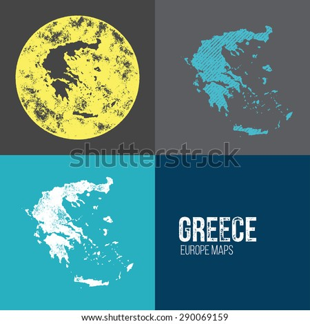 Greece Grunge Retro Map - Three silhouettes Greece maps with different unique letterpress vector textures - Infographic and geography resource - stock vector