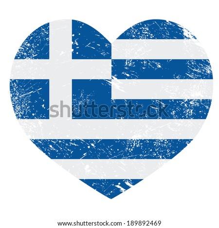 Greece heart love retro flag  - stock vector