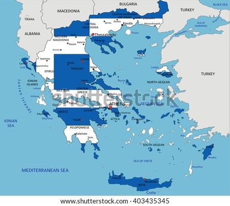 Greece Political Map Capital Athens Most Stock Vector - Political map of greece