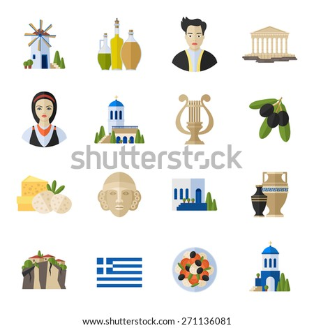 Greece Landmarks and cultural features  flat icons design set - stock vector