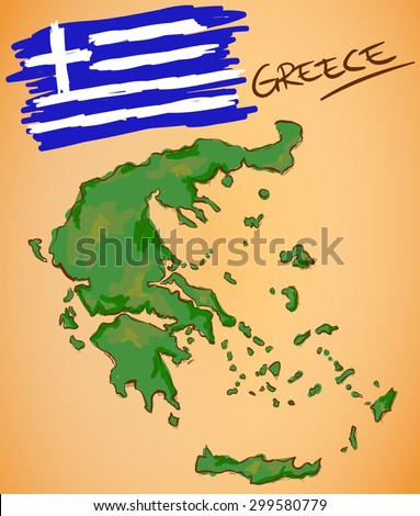 Greece Map and National Flag Vector - stock vector