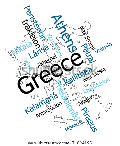 Greece map and words cloud with larger cities - stock vector