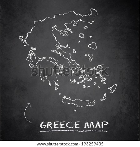 Greece map blackboard chalkboard vector - stock vector