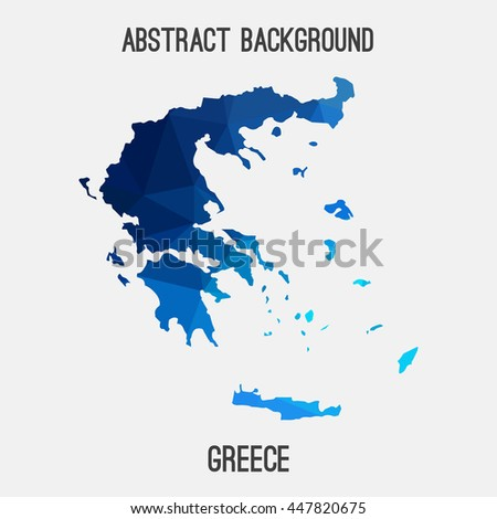 Greece map in geometric polygonal,mosaic style.Abstract tessellation,modern design background. Vector illustration EPS8 - stock vector