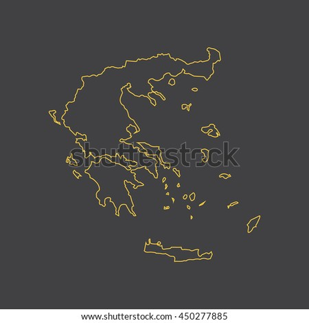 Greece map,outline,stroke,line style - stock vector