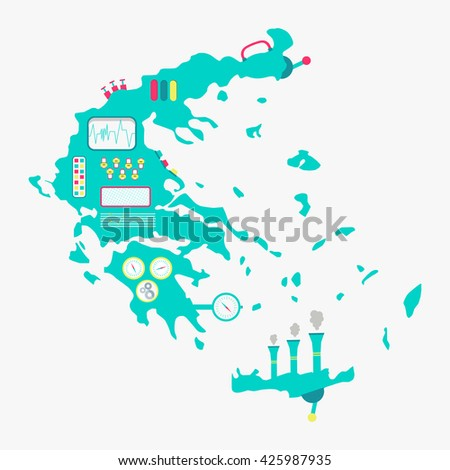 Greece map shaped machine. Engine with buttons, panels and levers. Isolated. White background.  - stock vector