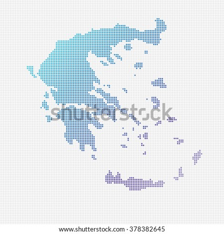 Greece Map Vector (small dots objects)