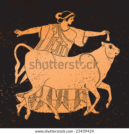 Greece mural painting,  Woman and Bull. Editable vector image - stock vector
