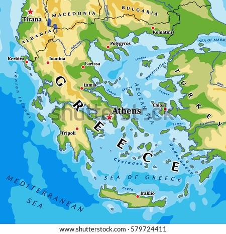 Greece Physical Vector Map Stock Vector 579724411 Shutterstock