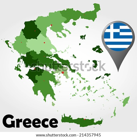 Greece political map with green shades and map pointer. - stock vector