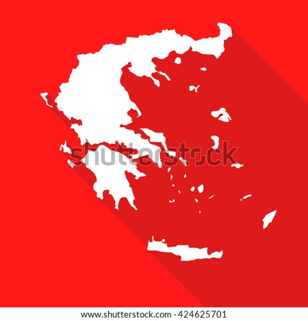 Greece white map,border flat simple style with long shadow on red background - stock vector