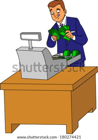 Greedy looking businessman salivating over wads of cash in cash register - stock vector