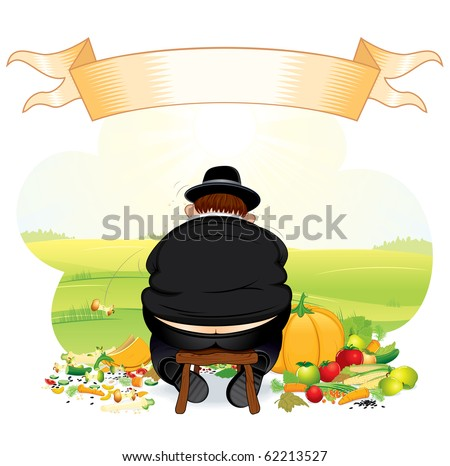 Greedy Pilgrim eating thanksgiving crop-all vector elements grouped - stock vector