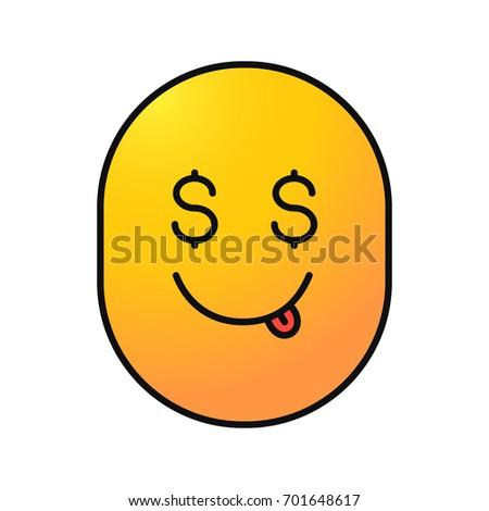 Yummy Dollar Emoji Isolated Vector Illustration