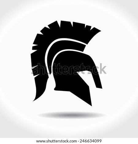 Greek, ancient helmet icon isolated on white - stock vector