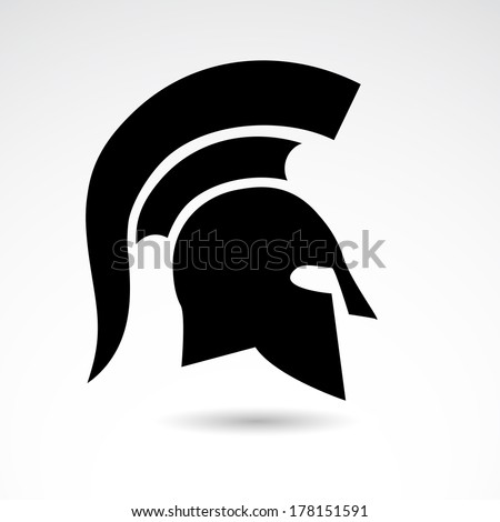 Greek, ancient helmet icon isolated on white background. - stock vector