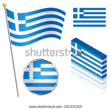 Greek flag on a pole, badge and isometric designs vector illustration.  - stock vector