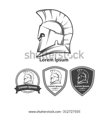 Greek helmet, profile view, silhouette, for logo, security agency concept, sport team idea, design templates - stock vector