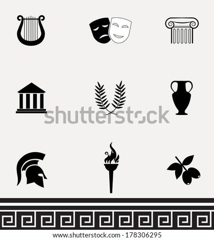 Greek icons isolated on white background, VECTOR illustration. - stock vector