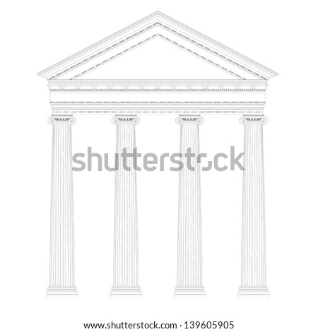 greek ionic temple ,classic style drawing - stock vector