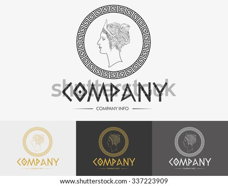 Greek monochromatic vector icon in various colors - stock vector