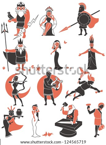 Greek / Roman Gods: Set of Greek / Roman gods over white background. No transparency and gradients used. - stock vector