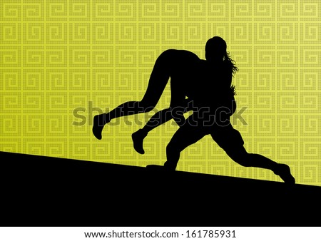 Greek roman wrestling active young women sport silhouettes vector abstract background illustration - stock vector