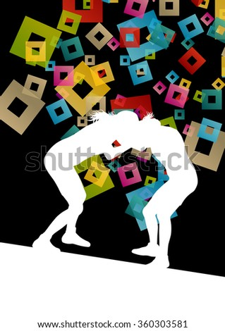 Greek roman wrestling active young women sport silhouettes vector abstract background illustration concept