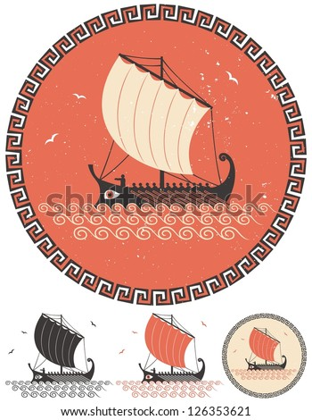 Greek Ship: Stylized illustration of ancient Greek ship in 4 different versions. - stock vector