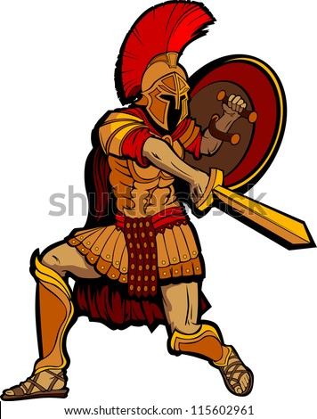 Greek Spartan or Roman Soldier Mascot holding a Shield and Sword - stock vector