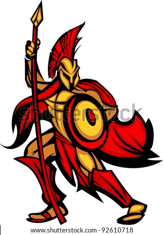 Greek Spartan or Trojan Mascot holding a shield and spear - stock vector